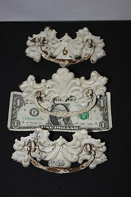 (AA-10821, B14) Antique Drawer Pulls, (Set of 3) Brass, painted white, Vintage