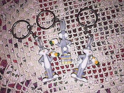 Lot Of 3 New WB Looney Tunes BUGS BUNNY figure Key Ring / Key Chain