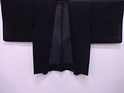 Antique Japanese Kimono / Vintage Haori For Summer / Woven Leaves Black