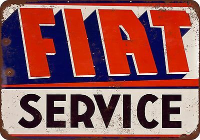 """7"""" x 10"""" Metal Sign - Fiat Service - Vintage Look Reproduction"""