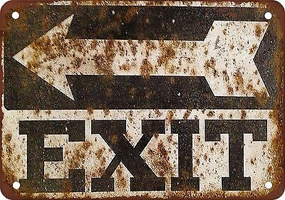 """7"""" x 10"""" Metal Sign - Exit Sign - Vintage Look Reproduction"""