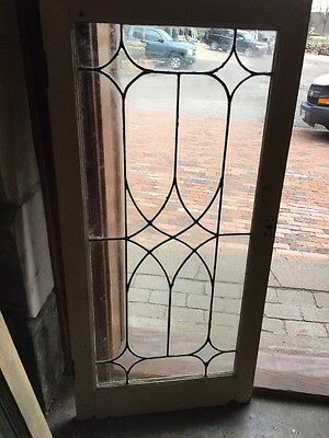 Sg 1298 Antique Leaded Glass Window Or Cabinet Door 20.25 X 42.25