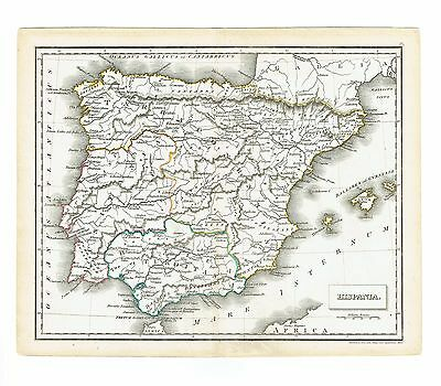 1830 Hand Colored Map of Hispana Iberian Peninsula from Russell's Ancient Atlas