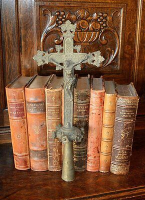 Antique Bronze French Processional Cross Religious Church Crucifix