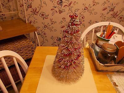 Early 1900S Large Size Bottle Brush Tree With Red Bead Garland In The Branches