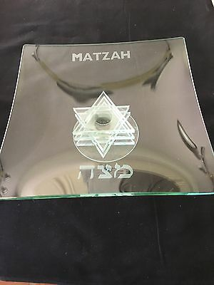 Matzah Plate With A Stacked Star Of David Stand For Passover And Etched