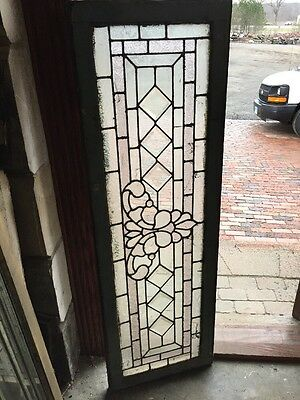Sg 1310 Antique Textured In Beveled Glass Transom Window 18.5 X 56.5