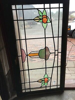 Sg 1311 Antique Stainglass Transom Window Peaches Apples 24.5 X 44.5