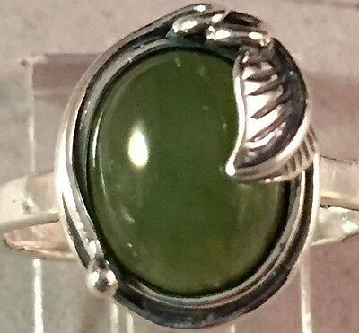 Jade ring, STERLING SILVER, made in Poland ,sizes 4.25/5/7.5  12x13 mm
