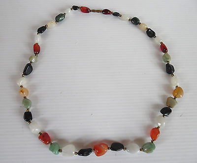 Vintage GemStone Necklace,Multicolored gemstones,Goldtone Seperator Beads