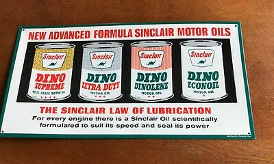 New Advanced Formula Dino Sinclair Oil Sign In Mint Condition