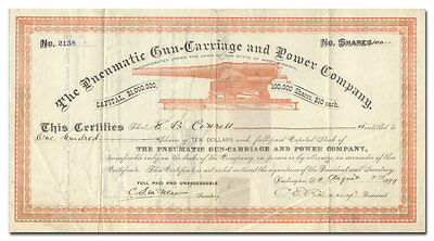 Pneumatic Gun-Carriage and Power Company Stock Certificate (1899)
