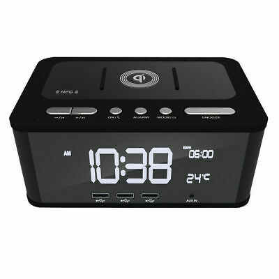 FM Radio Dual Alarm Clock/Bluetooth/NFC Speaker USB Charger/Qi Wireless Charging