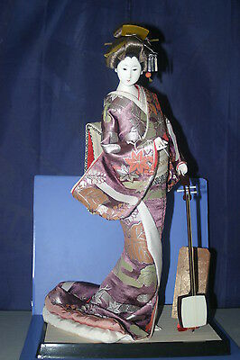 "JAPANESE DOLL Large 17.2"" Geisha Shamisen 56"