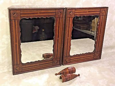 Ant Pair of Tramp Art Style Mahogany Mirrors w/ Pair of Matching Bracket Mounts