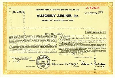 Allegheny Airlines   1978 US Airways American Airlines old stock certificate