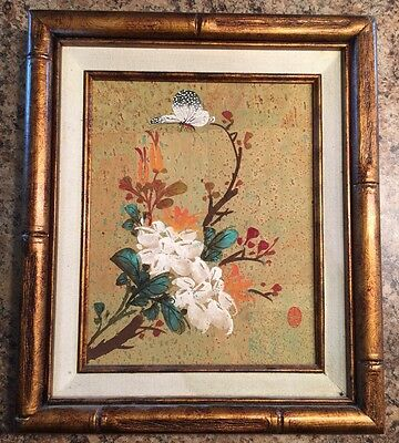 Asian Style Painting Butterfly On Flower Framed Art Picture Vintage Nice