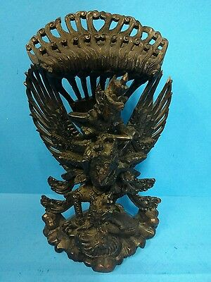 Vintage Antique Hand Carved Ironwood Garuda Statue Vishnu Bali  Indonesia 13.5""