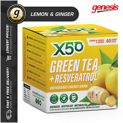 GREEN TEA X50 *60 Srv LEMON & GINGER* Tribeca Health Weight Loss Detox + Shaker!