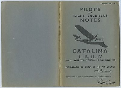 1943 Pilot's & Flight Engineers Notes/photos Catalina 1 1B 11 & 1V Usaf Book D85