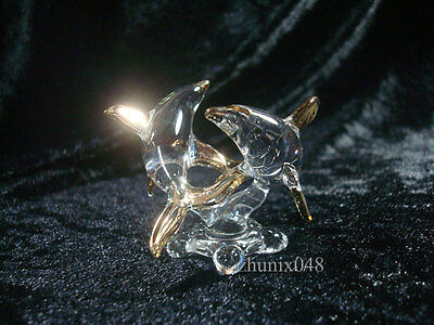 Dolphin Clear Glass Cristyl Art Fantasy Figure Paint  Gold Thai Hanmade Gift