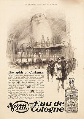 1926 4711 Eau de Cologne Christmas Santa Claus Vintage UK Magazine Ad