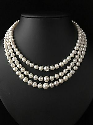 Vintage 14Ct Gold Genuine Graduated  Akoya Pearl Triple Strand Necklace - 827