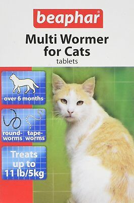 Beaphar Cat Kitten Multi Wormer Worming Roundworm Tapeworm Tabs Treatment 12pk