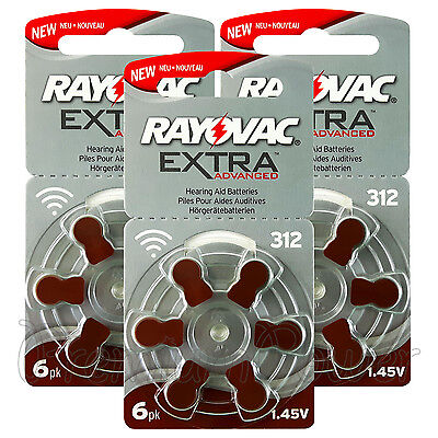 Rayovac Extra Hearing Aid 312 Size batteries Zinc air Mercury free 6 - 120 cells
