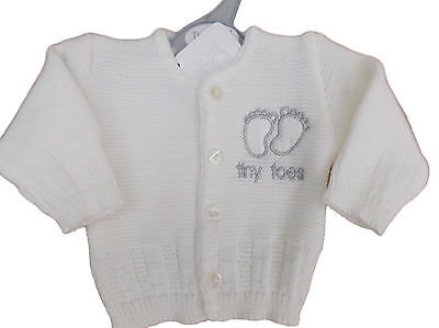 BNWT Tiny baby Premature Preemie unisex white Tiny toes knitted cardigan clothes