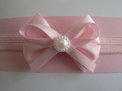 """Assorted Colors In Newborn/Baby/Toddler/Girl Headband & 2.5"""" Dbl Satin Pearl Bow"""