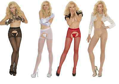 Elegant Moments Crotchless Suspender Tights - Black White Red Nude - One Size