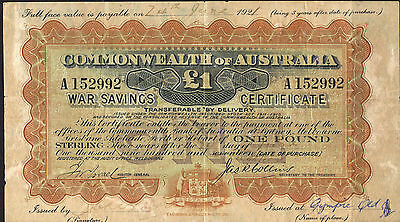 Australia WW1 war savings £1 certificate  VG condition pin hole usual folds