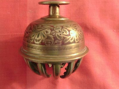 Vintage Collectable Brass: Superbly Engraved Large 'Claw' Elephant Temple Bell