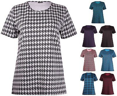 Womens Plus Size Top Check Dogtooth Printed Short Sleeve Ladies Long T-Shirt