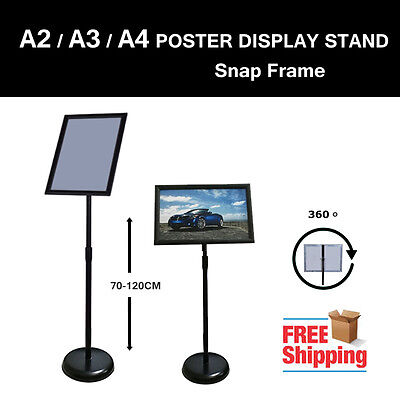 NEW A2 A3 A4 Floor Poster Stand Pedestal Sign Holder Business Menu Display BLACK