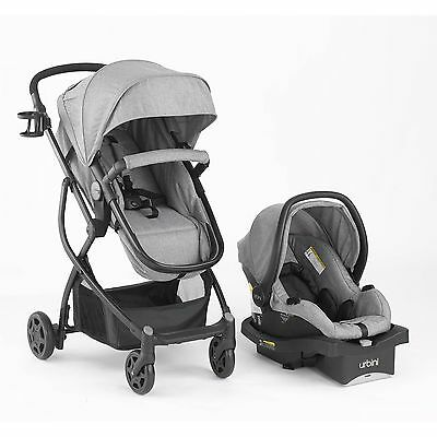 BABY STROLLER CAR SEAT Carriage 3 In 1 Travel System Infant Buggy Bassinet Gray