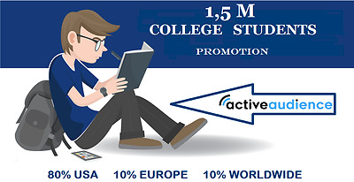 Advertise your Website to 1,500,000 COLLEGE Students via social media platforms!