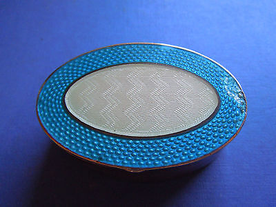 Levi & Salaman Antique Sterling Silver Guilloche Enamelled Pill/snuff  Box