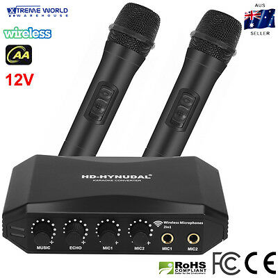 HD-Hynudal Karaoke Machine Echo Mixer, Two Wireless Mics Black