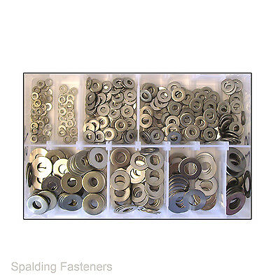 "466 Assorted 1/8"" To 1/2"" Imperial UNF UNC BSF A2 Stainless Steel Flat Washers"