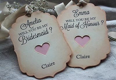 WILL YOU BE MY BRIDESMAID-MAID OF HONOUR TAGS-Vintage Style-Personalised-PINK