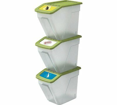 HOME 34 Litre Plastic Recycling Bins Clearly Coded To Make Recycling  Set Of 3
