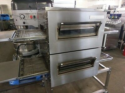 """Lincoln 1116-000-A Double Deck Nat Gas Conveyor Pizza Oven 18"""" Belt Stand Caster"""