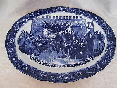 LIBERTY BLUE Platter ~ Staffordshire Stoneware Declaration of Independence 18""