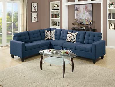 4PCS MODERN NAVY Polyfiber Linen-Like Fabric Sectional Sofa Set for Living  Room