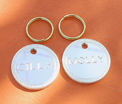 Dog disc pet id brass tag small dog name - REF 25MM