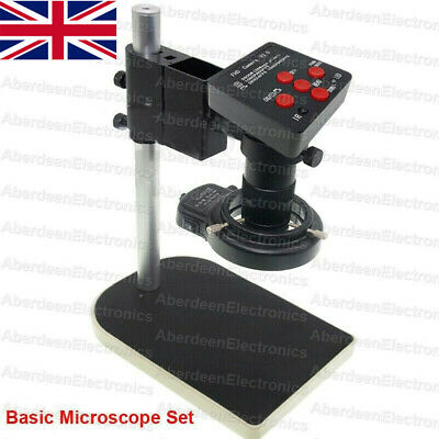 14MP HDMI HD PCB Microscope Set USB Industry Camera  Stand Ring Lamp