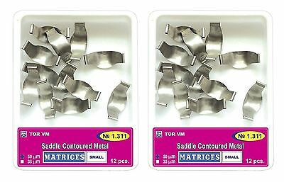 Lot x 2 Dental Small Saddle Contoured Metal Matrices Matrix 12 pcs. TOR VM