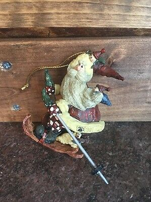 Boyd's Bears Collectible Resin Ornament 1998 3E #4723 Santa On Skis